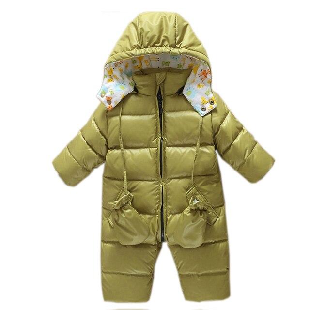 06b53a4fedf3 baby girl romper Snowsuit Duck down baby winter romper hoodies ...