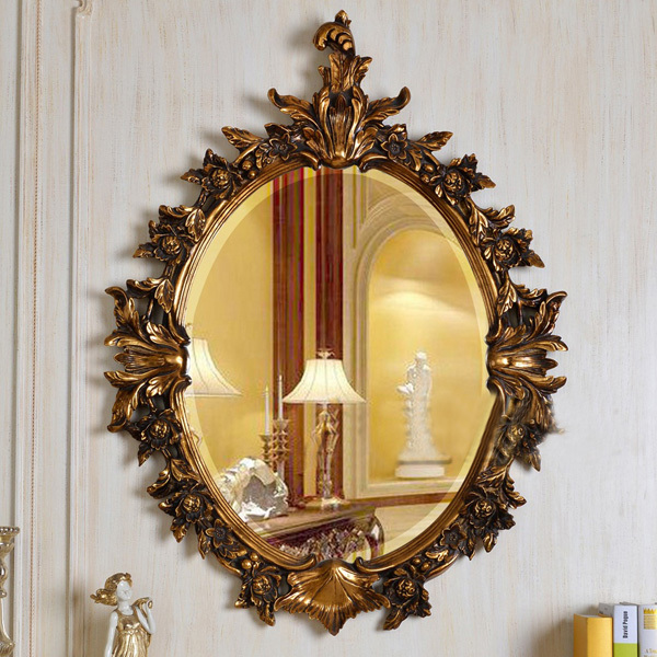 European Refined Resin Oval Mirror Antique Frame Luxury Decor Wall ...