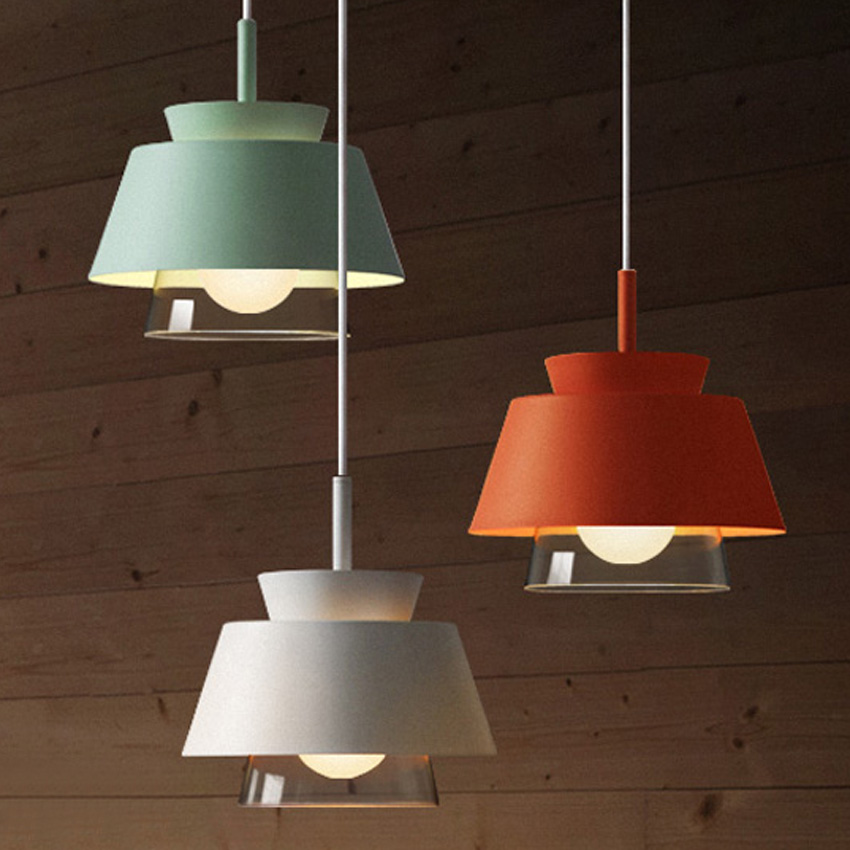 Nordic Macaron hanging pendant lights modern wrought iron colorful Frosted lampshades restaurant cafe aisle bar glass droplight one light frosted glass antique rust hanging lantern