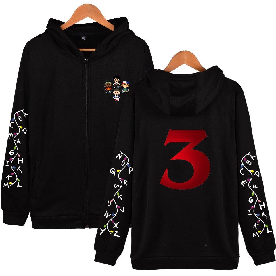 Harajuku Hoodies Stranger Things Season 3 Zipper Hoodies Sweatshirts Men/Women Clothes Hooded Hip Hop Print Plus Size