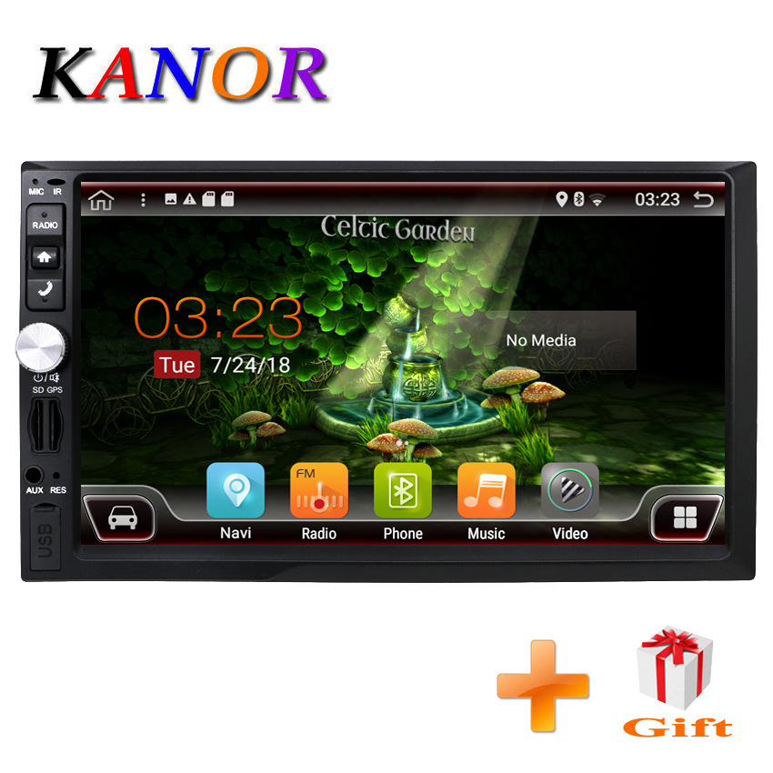 KANOR Quad Core RAM 2G ROM 32G 2 Din Android 7.1 Car Radio With GPS WiFi Universal GPS Navigation Video Stereo GPS Android 2din kanor octa core android 7 1 2 32g 1024 600 2din car radio for nissan juke 2004 2012 in dash 2 din car gps navigation wifi usb