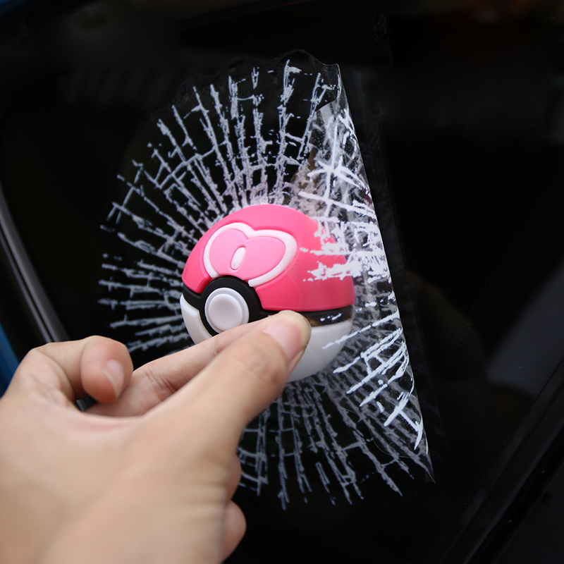 Hot Sale car accessories 3D Waterproof Fashion Funny Pet Pokemon Tennis Broken Glass Car Sticker Car-Styling Accessories