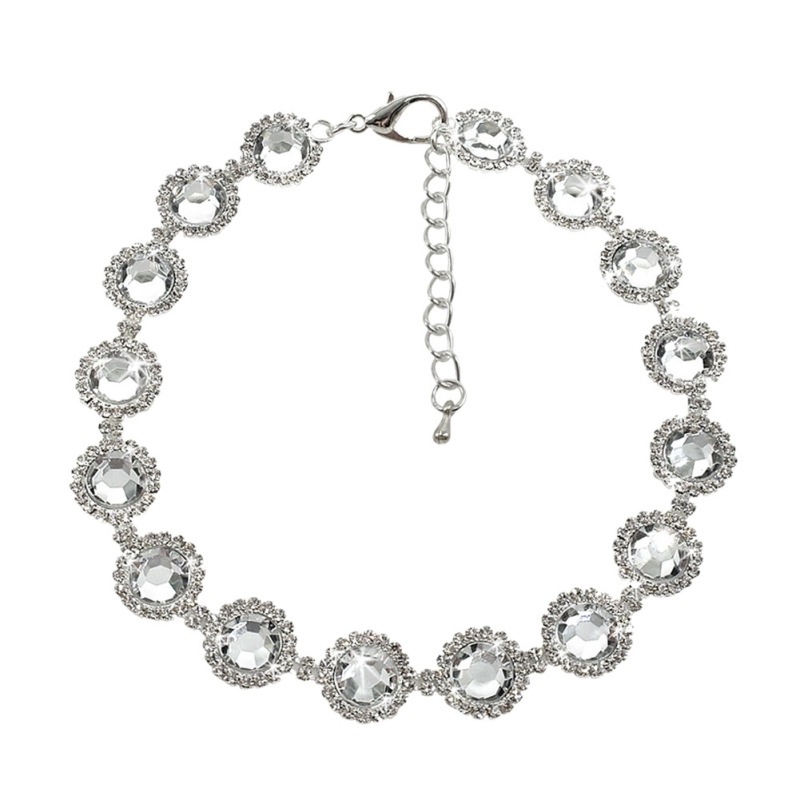Bling Rhinestone Pearl Necklace Dog Collar Alloy Diamond Puppy Pet