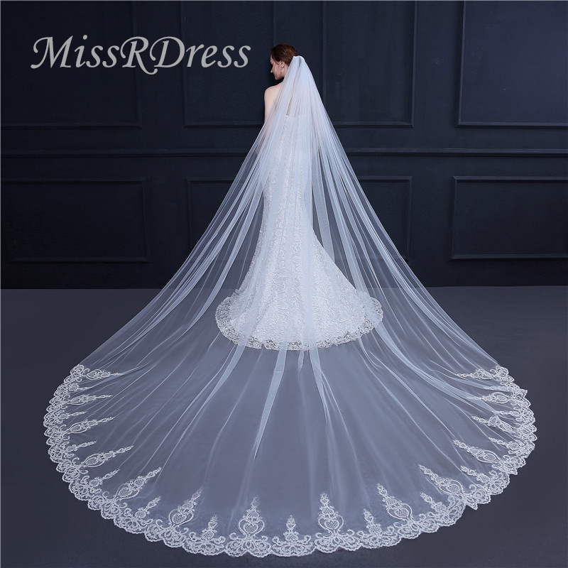 MissRDress 3 5m Long Lace Edge Bridal Veil Cathedral Appliqued Wedding Veils With Comb Soft Tulle