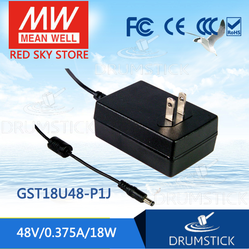 MEAN WELL GST18U48-P1J <font><b>48V</b></font> 0.375A meanwell GST18U <font><b>48V</b></font> 18W AC-DC High Reliability Industrial <font><b>Adaptor</b></font> image