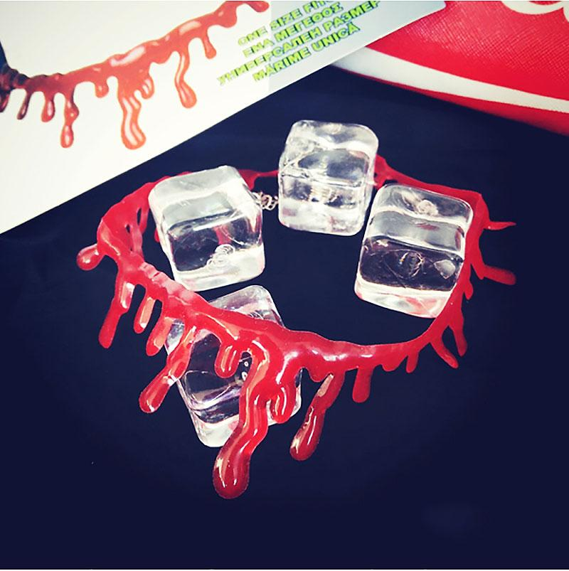 Halloween Blood Dripping Necklace Jewellry Choker Party Web Costume Fancy Dress