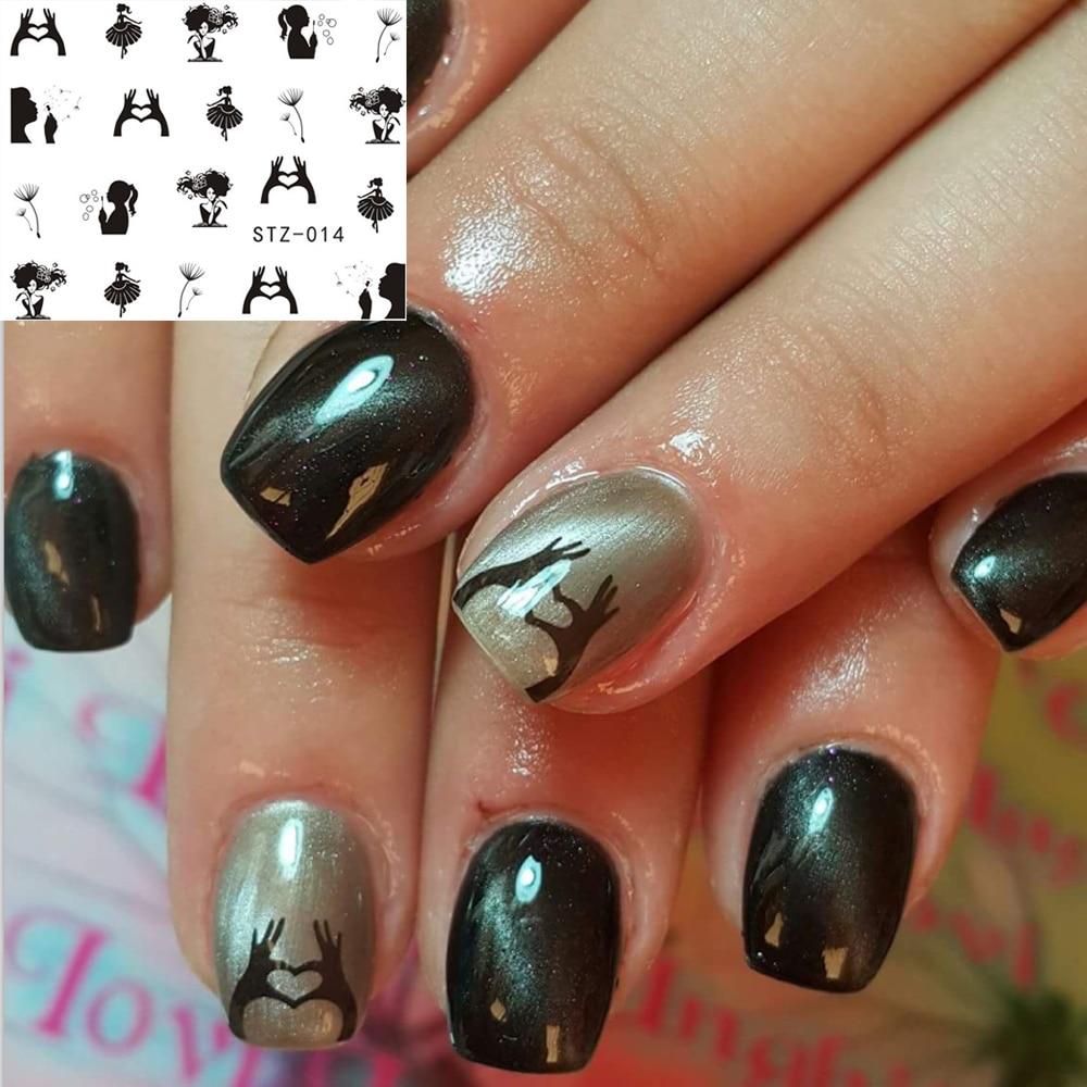1 Sheets Pretty Designs Nail Sticker Decals NEW Black Dandelion Girl ...
