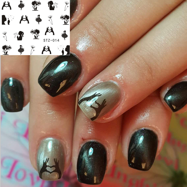 1 sheets pretty designs nail sticker decals new black dandelion 1 sheets pretty designs nail sticker decals new black dandelion girl image stamping nail art beauty prinsesfo Images