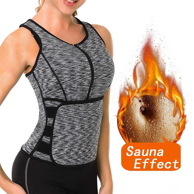 NINGMI Women Sauna Vest Slimming Waist Trainer Tummy Firm Control Body Shaper Slim Neoprene Tank Top Hot Sweat Shirt Weight Loss