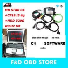 MB Star C4 программное обеспечение V2019.12 HDD 320 ГБ с hhtwin 32 бит SD Подключение компактный C4 с Wifi звезда Диагностика с cf19 i5 4g ноутбук
