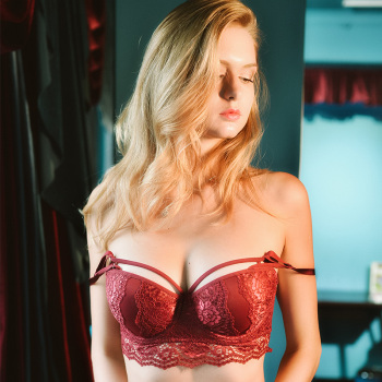 Sexy lace bra with small breasts and a red biennial bra on the side 3
