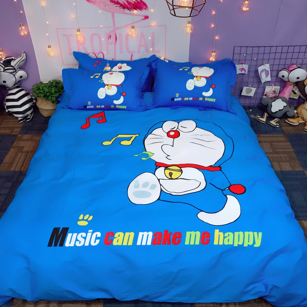 100% Katoen Zoete Mooie Hello Kitty Doraemon Beddengoed Sets Twin Koningin Koning Kat Roze Dekbedovertrek Laken Kussensloop Beddengoed