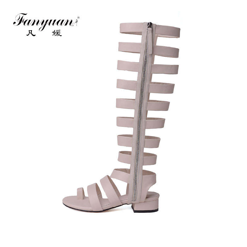 Fanyuan Lijn Stijl vrouwen Gladiator Sandalen Lederen Uitsparing Kniehoge Zomer Laarzen Zipper Meisjes Casual Med Hak Schoenen-in Knie hoogte Laarzen van Schoenen op  Groep 1