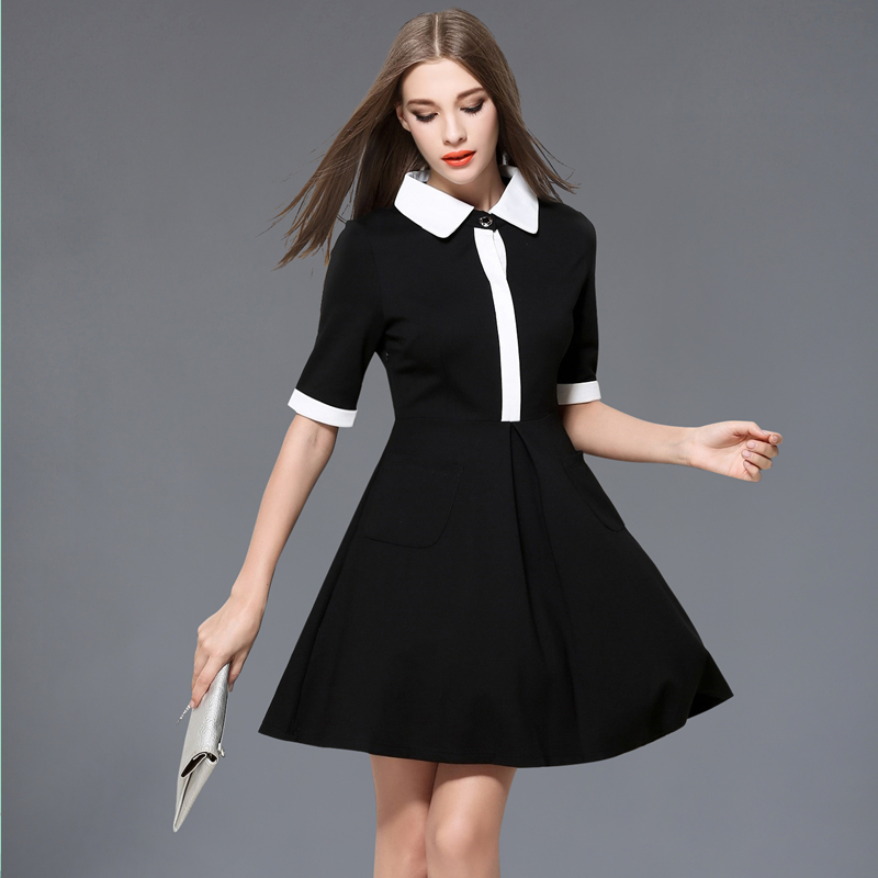 new autumn women shirt dress robe femme ete 2017 half. Black Bedroom Furniture Sets. Home Design Ideas