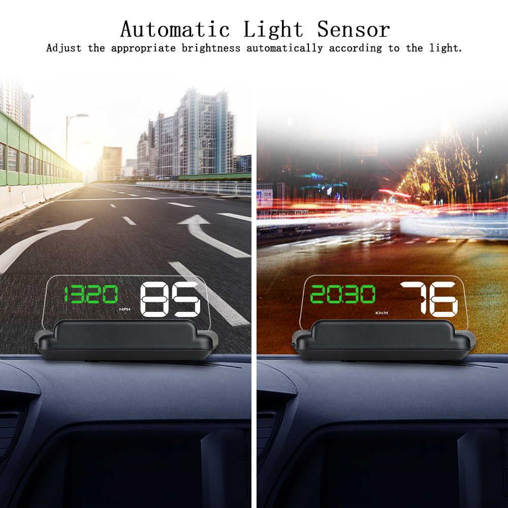 OBD2 C500 зеркало HUD Дисплей лобовое стекло Скорость проектор T900 цифровой GPS Спидометр бортовой компьютер расход топлива темп