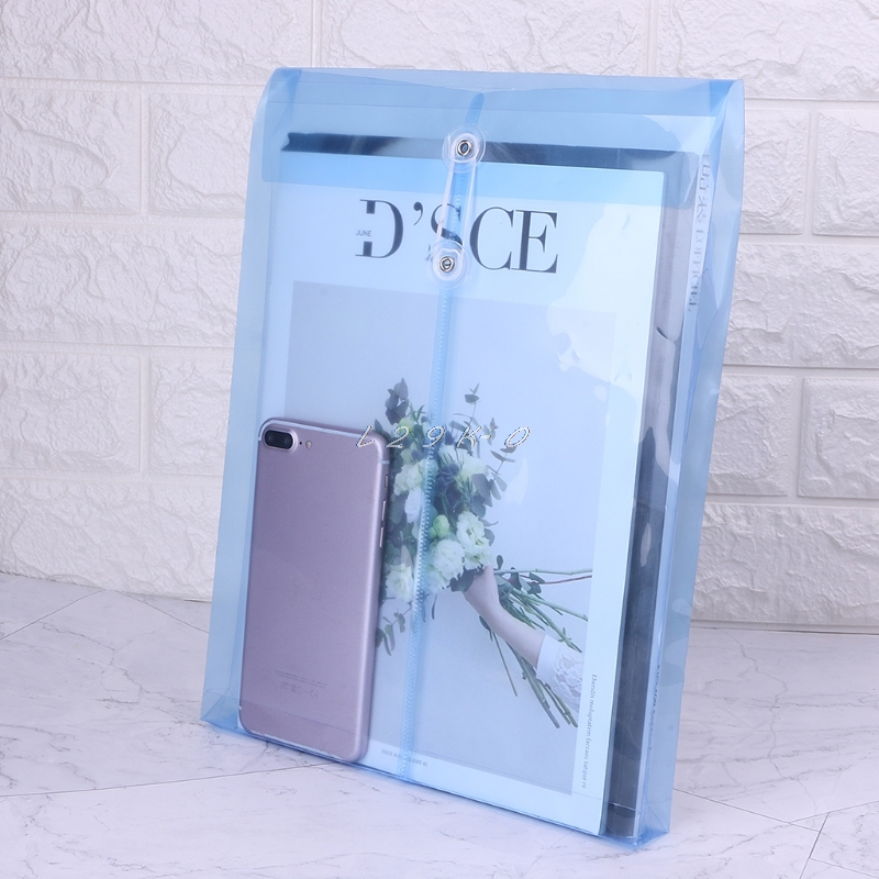 Nestes A4 Office File Bag Button Closure Folder Bag Plastic File Folder Office Supply Storage Bag L29K