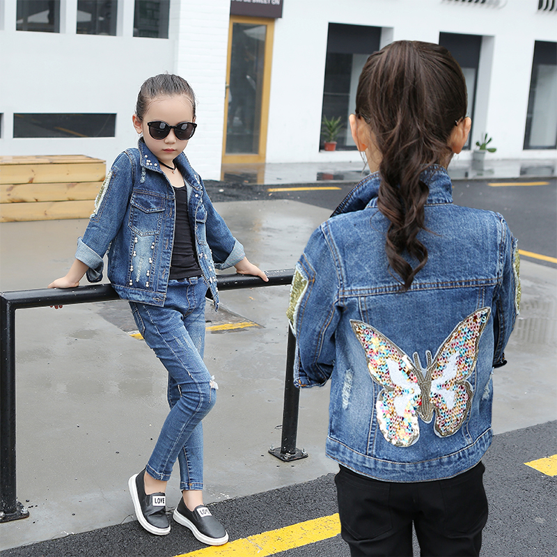 2018 Spring Girls Fashion Denim Jacket Kids Pearls Cowboy Coat With Sparkle Butterfly Children's Holes Leisure Outerwear A370