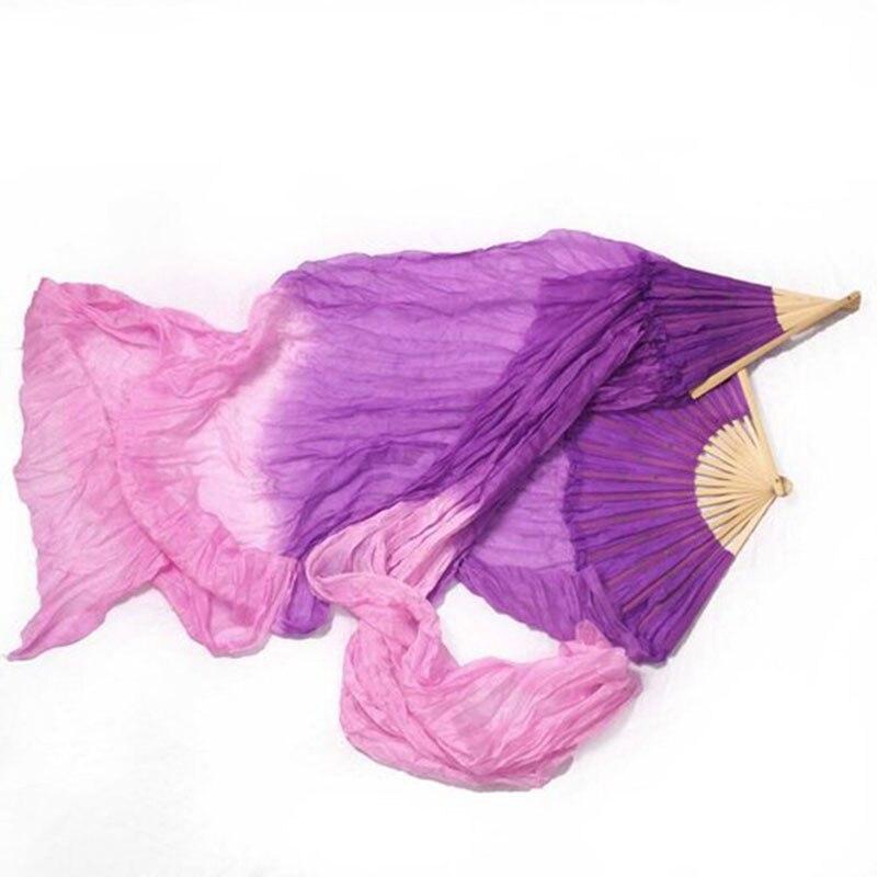 2016 Hot New 180 cm Belly Dance Silk Fan Veils Dark Purple/Light Purple Gradient In Stock