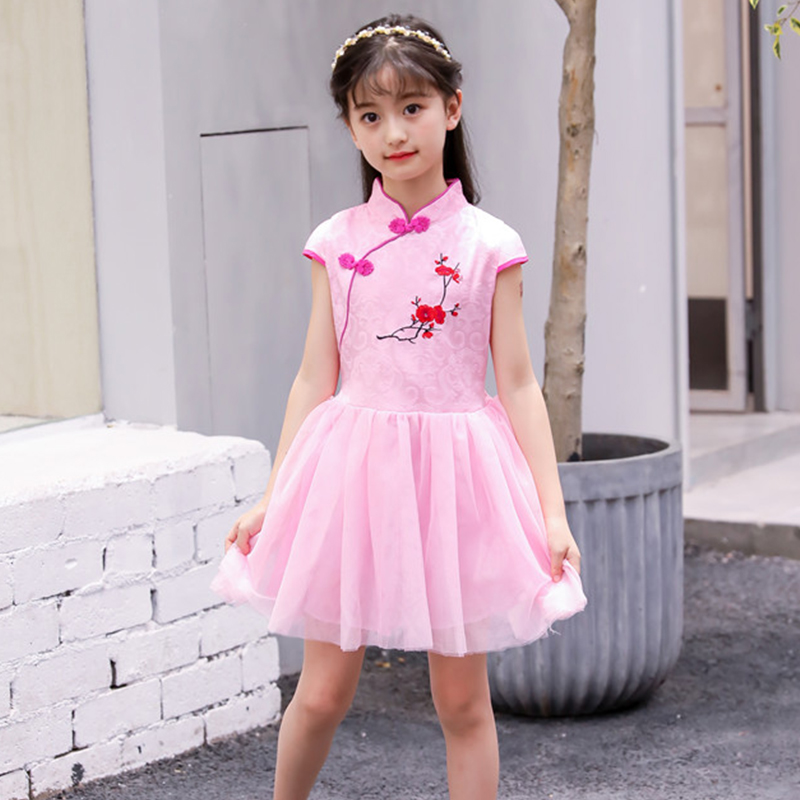 Children Girl Dress Cheongsam Chinese Traditional Dress Short Sleeve Skirt Girl Children Cheongsam 2018 Summer Cotton Qipao