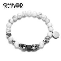 REAMOR Natural White Howlite Turquoise Stone Beads Bracelet Stainless Steel Antique Silver Skull Head Bracelets Men
