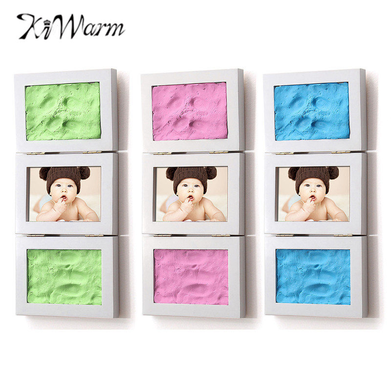 KiWarm 2017 New Kid Photo Frame DIY Hand Foot Print Gift Set Picture Scrapbooking Stamp For Baby  Birthday Party Event 0cm in diameter large space baby hand footed printing mud set newborn baby hand and foot print hundred days old gift souvenir