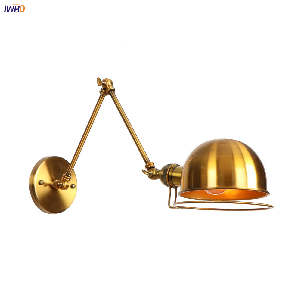 IWHD Golden Swing Long Arm Retro Wall Lights Fixtures Home Lighting Loft Style Industrial Vintage Edison Wall Sconce Stair LightIWHD Golden Swing Long Arm Retro Wall Lights Fixtures Home Lighting Loft Style Industrial Vintage Edison Wall Sconce Stair Light
