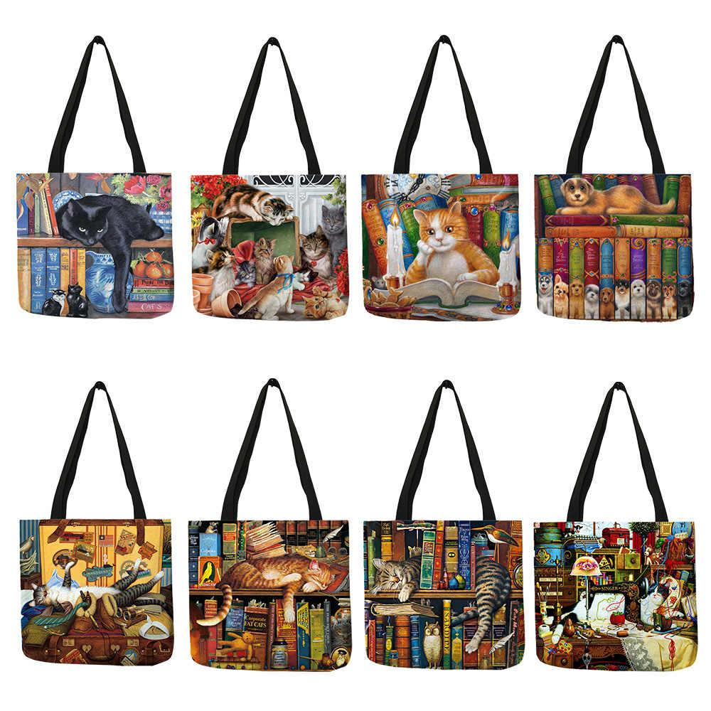 Масло с изображением кота печати женские сумки-тоут льняные многоразовые хозяйственные сумки на плечо для женщин 2019 sac основные женские сумки
