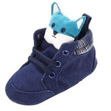 1 pair of autumn baby shoes kids boy girl fox head cotton first walker non-slip soft soles children's sneakers