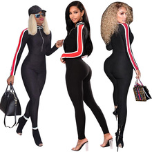 ff28c0ab87c5 Women New Stripes Side Long Sleeve Zipper Open Black Skinny Pencil Long  Jumpsuits Sexy Fitting Rompers