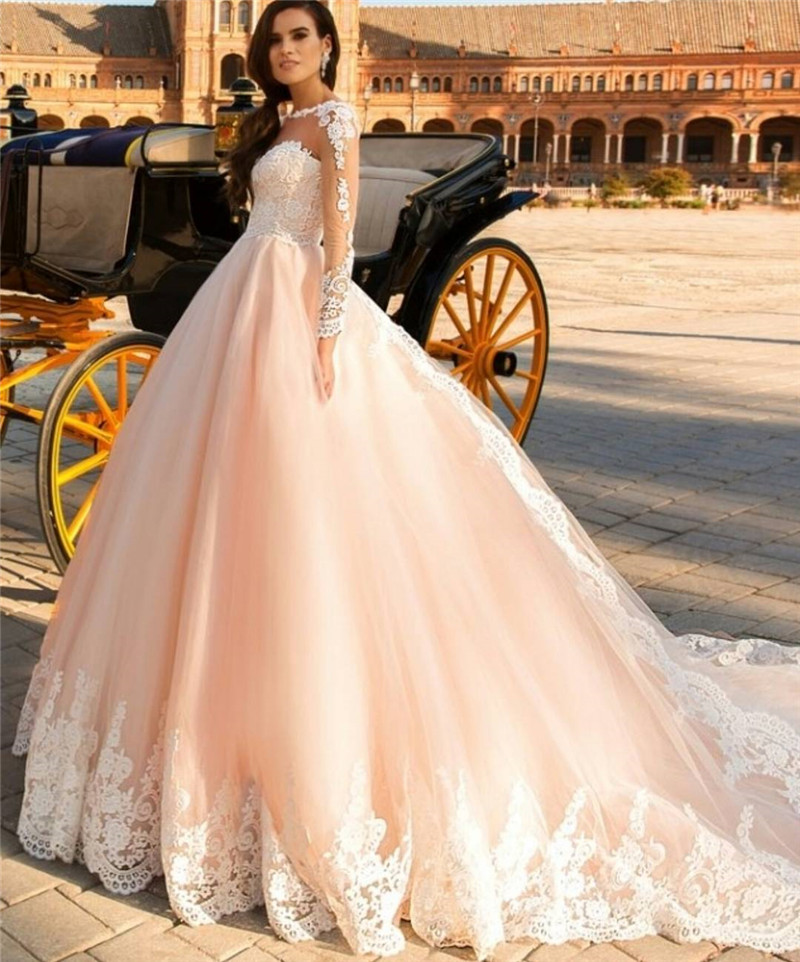 Lace Long Sleeve Elegant Prom Dress Ball Gown Champagne Detachable ...