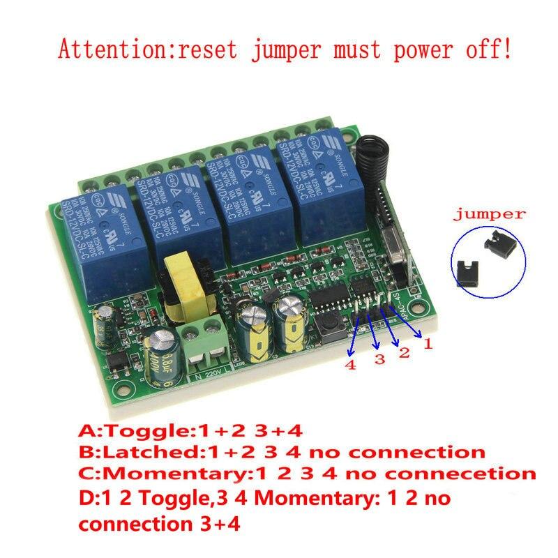 AC 220V 10A 4 CH 4CH RF Wireless Remote Control LED Light Switch System  Receiver,315 / 433 MHz