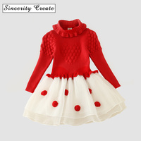 NEAT Christmas Baby Girl Clothes Lovely Red Patchwork Pattern Cotton Turtleneck Girl Dress Sweater Kids Dress