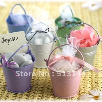 FREE SHIPPING 60PCS Mix Colros Mini Tin Pails Candy Mini Bucket Favors Candy Package Party