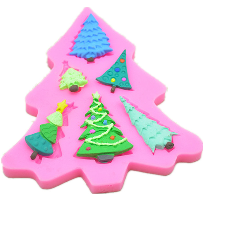 634337fda77345 Kitchen DIY Creative 3D Christmas Tree Silicone Cake Mold Decorating Tools  Fondant Mold Cupcake Cake Baking A1173