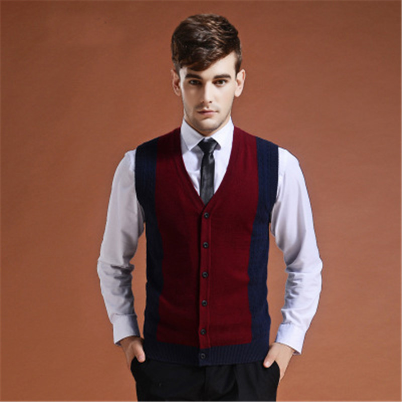 Sweater Cardigan Buttons Down Knit Jacket Vest For Men Sleeveless Wool Stylish Fashion Patchwork Red Grey 2018  Winter Sweater