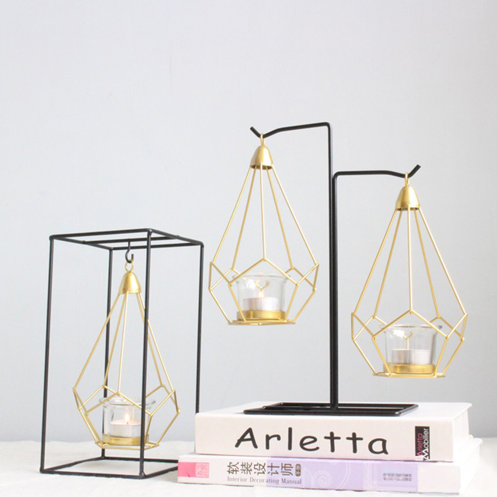 Nordic Style Geometric Gold Glass Iron Candle Holder For Cup Candles Home Decoration Candelabra Wedding Centerpieces Candlestick