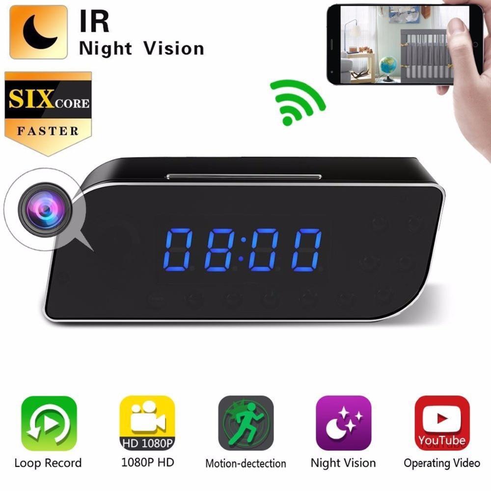 US Plug HD 1080P WIFI Mini Camera Alarm Clock IR Security Motion Detection Nanny Clock