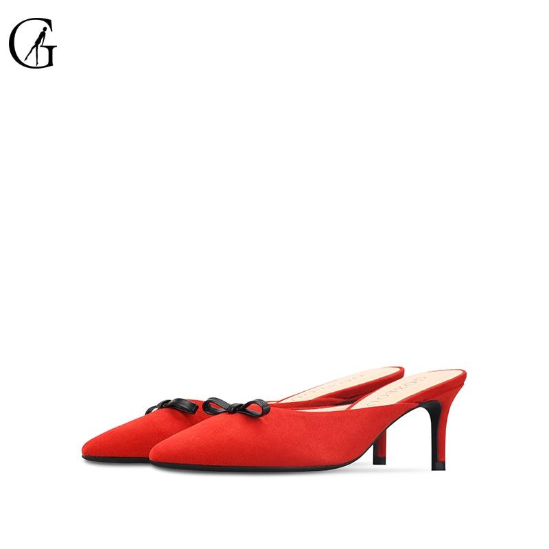 GOXEOU2019 nuevos zapatos de lana de primavera y verano de gamuza moño zapatillas baotou zapatos de tacón plano semitamaño 34 46 envío Gratis-in Zapatillas from zapatos    3