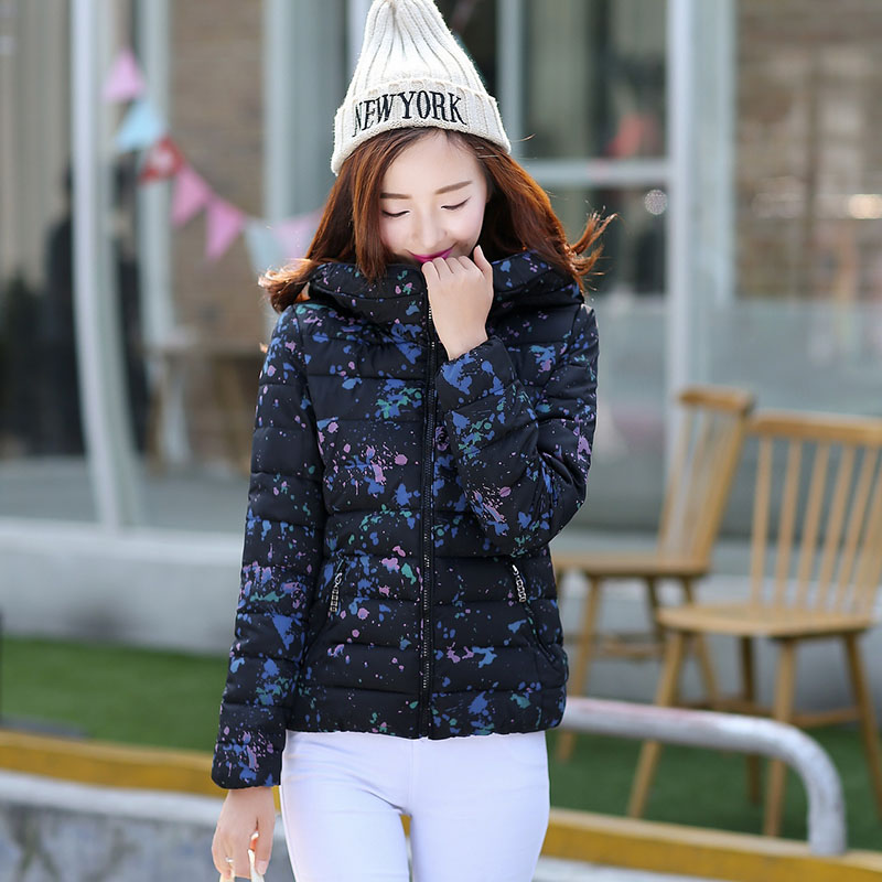 2017 new short thin winter coat Women parkas Korean female cotton jacket Slim Down padded hooded printing clothing 7405 hooded collar korean new 2014 winter clothing full sleeve solid down jacket slim women casual cotton padded coat ly1066
