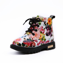 Children leather shoes for kids Floral Martin Boots 2017 children girls winter designer waterproof snow boots