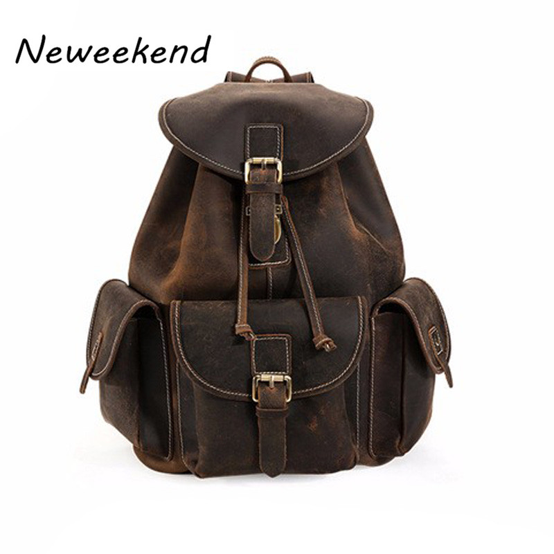 все цены на Men Backpacks 100% Genuine Leather Men's Travel Bag Fashion Man Casual Backpack Leather Business Bag Male Backpack YD-09027