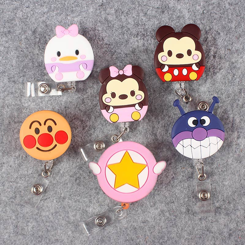 Cute Mouse Clown Face Retractable Creative Plastic Badge Holder Reel Student Nurse Exhibition Enfermera Name Card Chest Card