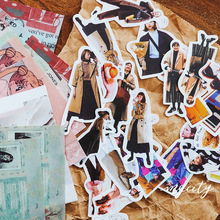 50Pcs/pack Vintage Kawaii Girl Sticker Scrapbooking Creative DIY Bullet Journal Decorative Adhesive Labels Stationery Supplies