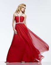 2015 wirkliches Kleid Für Prom Neue A-line Bodenlangen Chiffon Kleid Riemen Abend Formales Falten Hohlkreuz Sleeveless F687