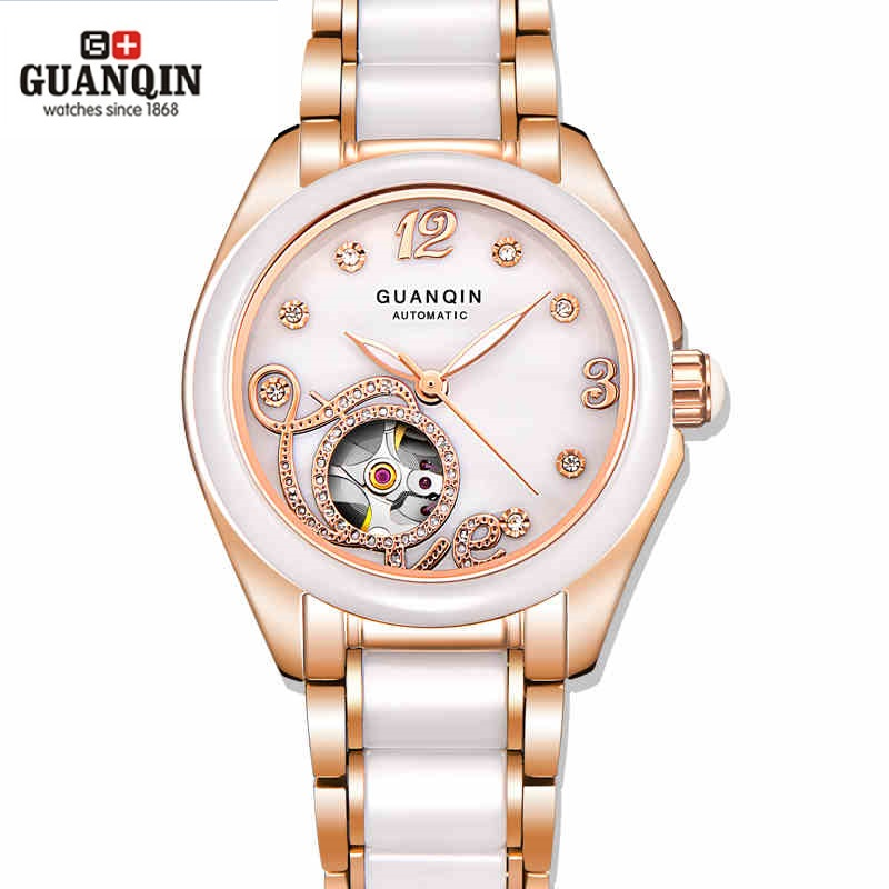 Фото GUANQIN Ceramic Women Watch Automatic Mechanical Watches Hollow Waterproof Watch Ceramic Watch Strap Rhinestone Shell Pattern
