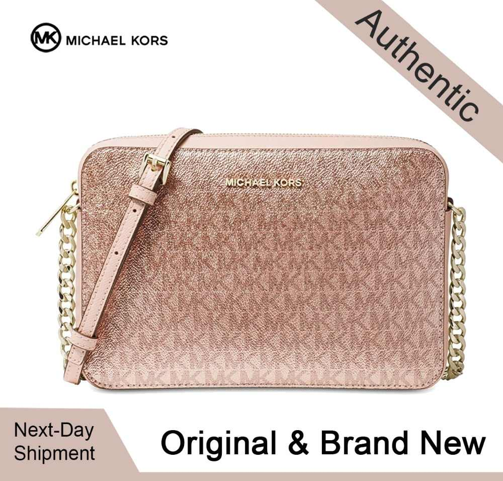 Michael Kors Metallic Signature Jet Set East West Crossbody (Soft  Pink/Gold) Luxury