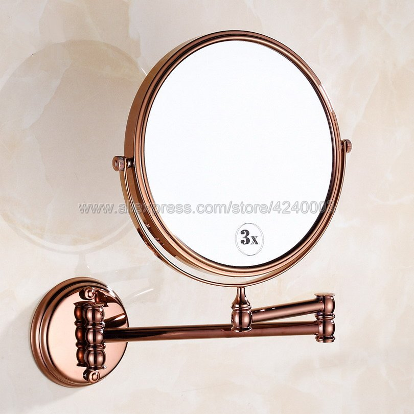 Rose Gold Bath Mirrors 3 x Magnifying Mirror of Bathroom Makeup Mirror Folding Shave 8 Dual Side Wall Round Mirrors Kba630Rose Gold Bath Mirrors 3 x Magnifying Mirror of Bathroom Makeup Mirror Folding Shave 8 Dual Side Wall Round Mirrors Kba630