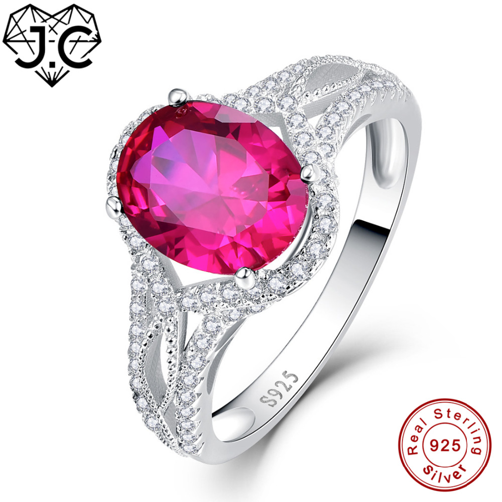 J.C New Arrival Ruby Spinel Sapphire White Topaz Real 925 Sterling ...