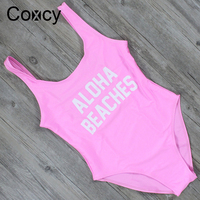 Coxcy California Classic Print One Piece Swimsuit Sexy Pink Women Swimwear High Cut Bathing Suit Monokini