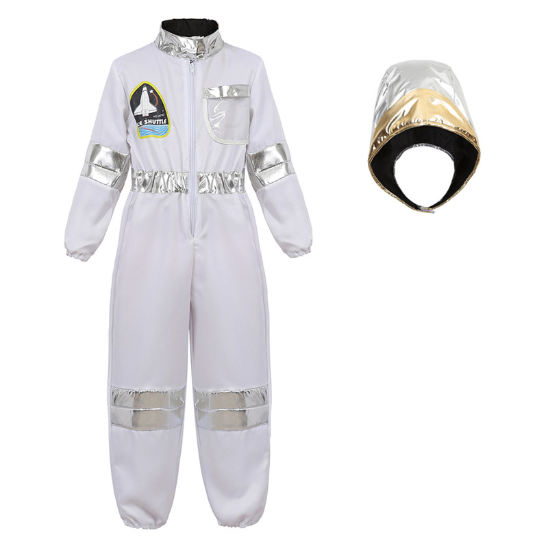 Kids Astronaut Costumes Spaceman Jumpsuit Flight Dress Up Costume With Helmet Astronaut Role Play Sets For Boys Girls Cosplay